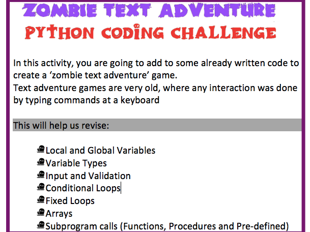 [GCSE IGCSE IB] Python Coding Activity - Zombie Escape Text Adventure