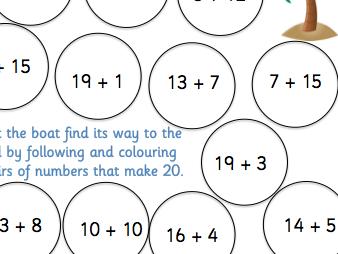 Number bonds to 20 maze