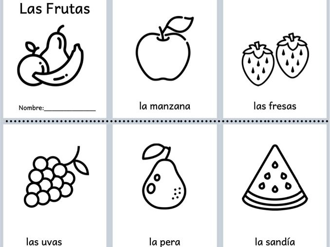 Fruits in Spanish - Foldable Minibook