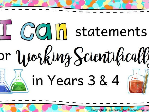 Working Scientifically I can Statements for Years 3 & 4
