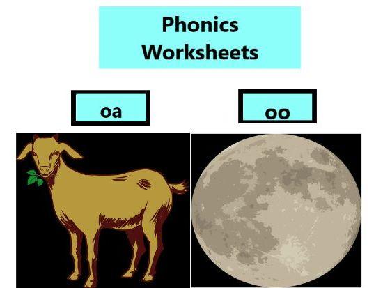 Phonics Worksheets oo, oa, ai,