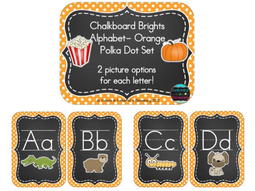 Chalkboard Brights Alphabet Cards: Orange Polka Dot Set