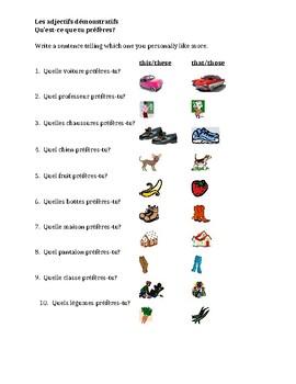 Adjectifs démonstratifs (Demonstrative Adjectives in French) Worksheet 5