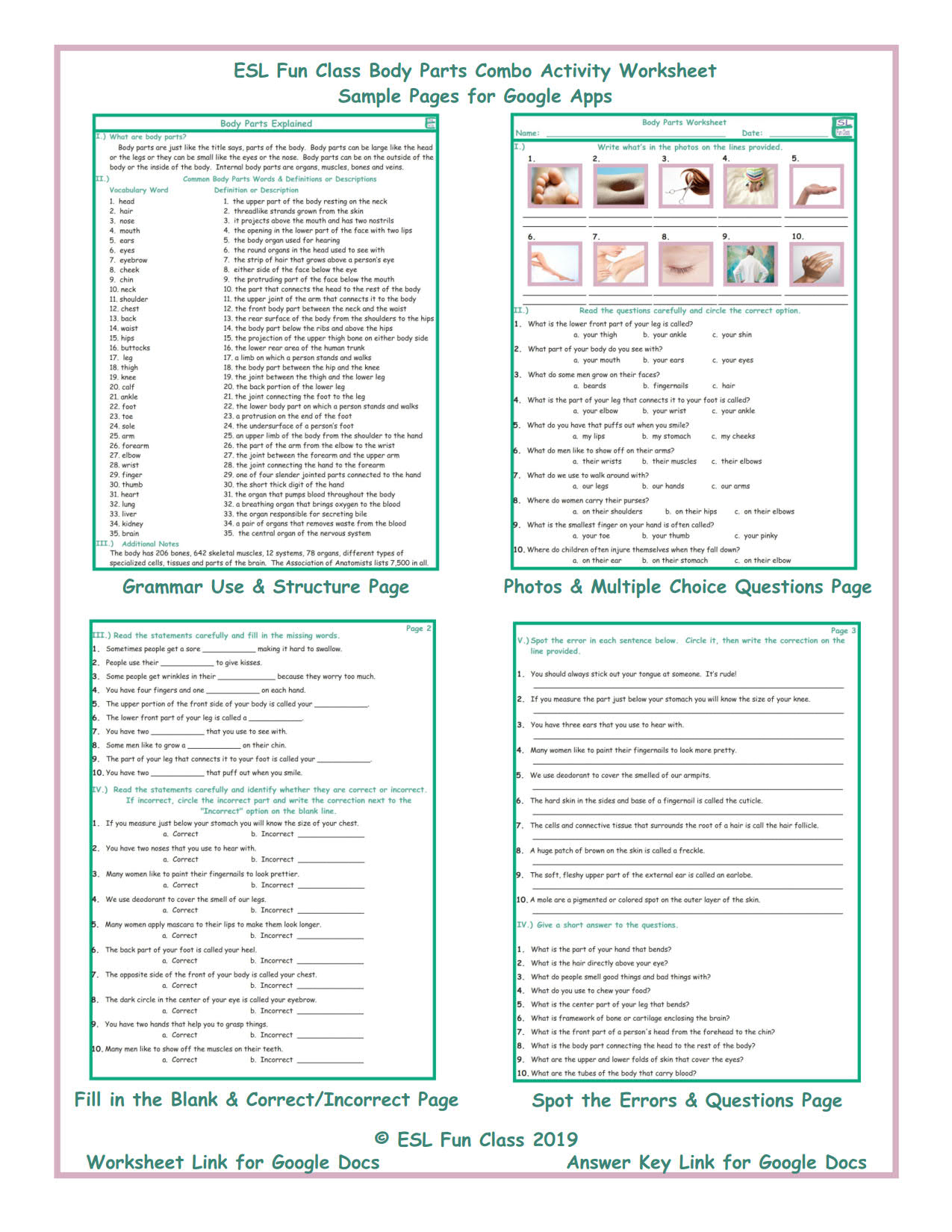 Body Parts Interactive Worksheets for Google Apps