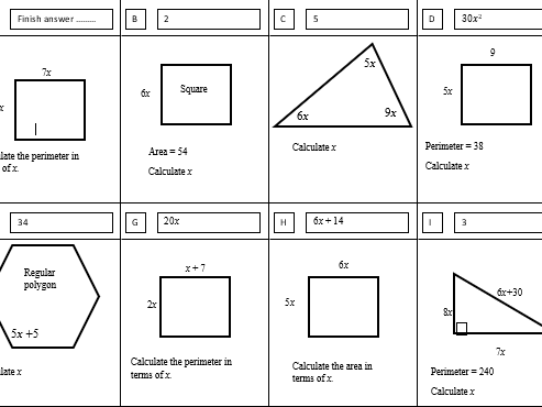 Treasure hunt Algebra and shape