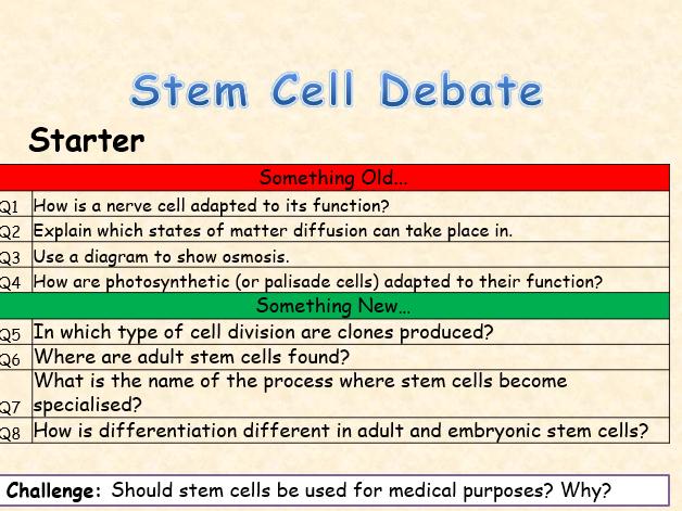 AQA Biology Topic 2 Stem Cells Debate