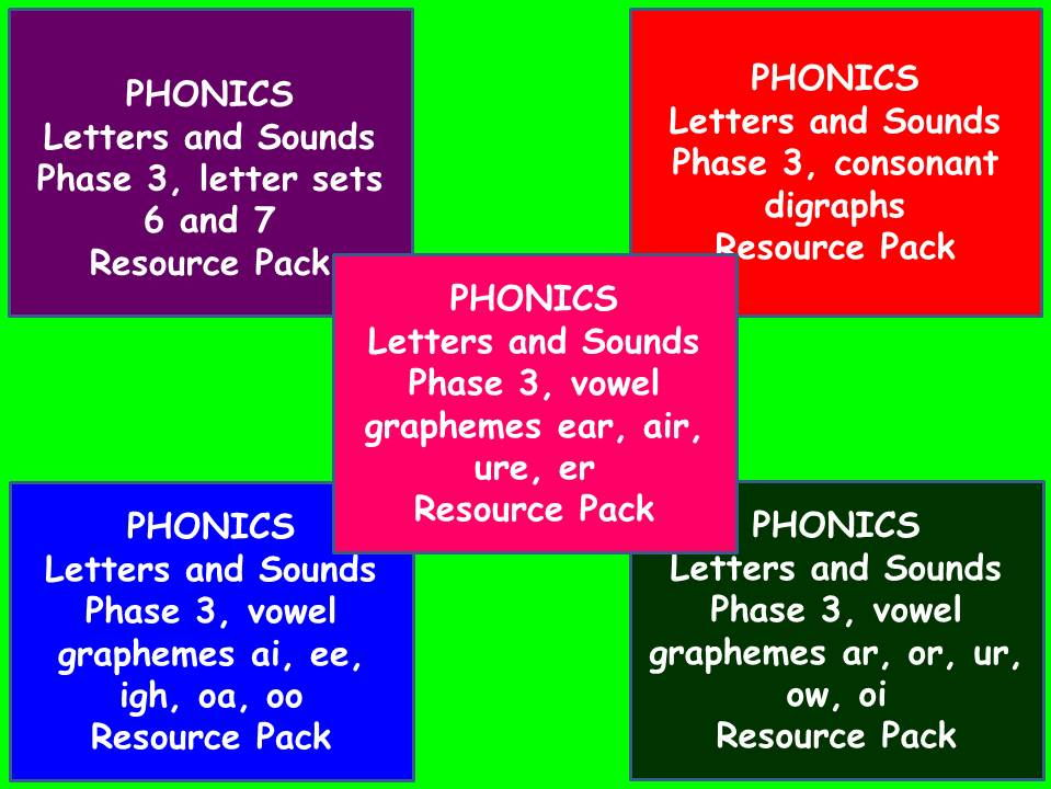 Five  Phase 3 Letters and Sounds Phonics Resource Packs