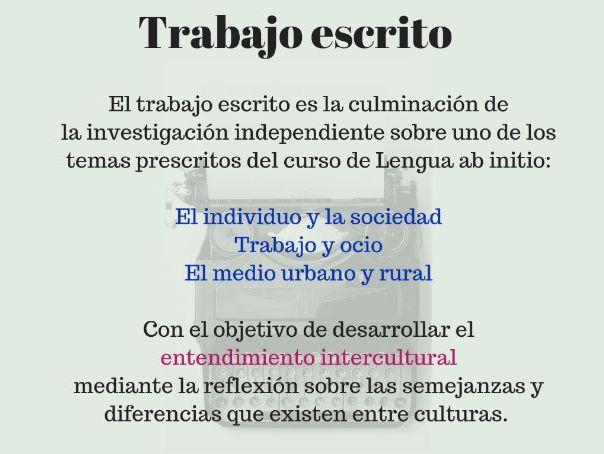 Trabajo escrito (written assignment) español ab initio MATERIAL DE APOYO PARA EL PROFESOR