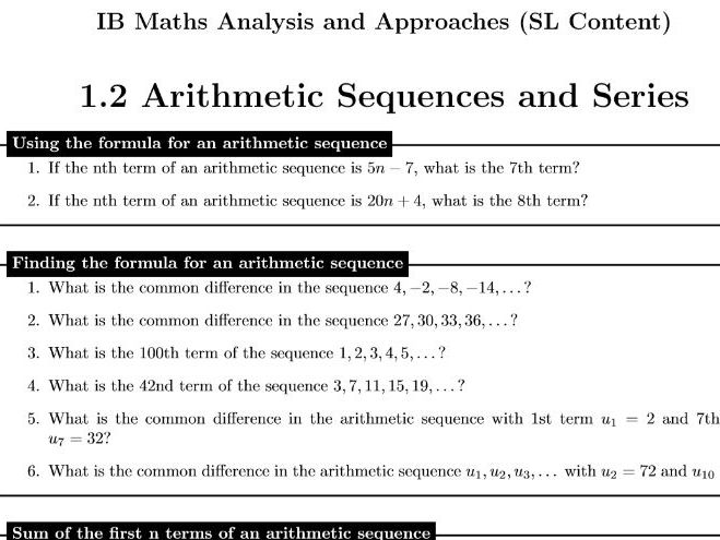 1.2 Arithmetic Sequences - IB Maths Analysis and Approaches (SL Content)
