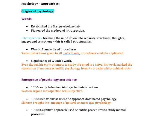 Approaches Notes (AQA Psychology A-Level)