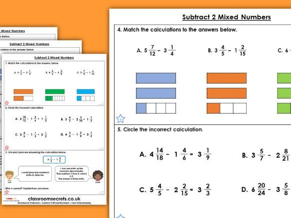 Year 5 Subtract 2 Mixed Numbers Spring Block 2 Maths Homework Extension