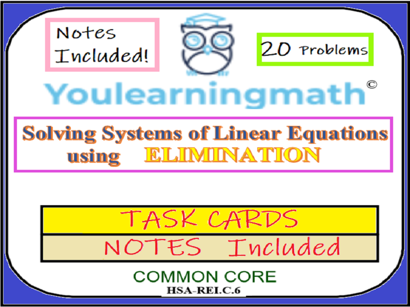Solving Systems of Linear Equations using Substitution - 20 Task Cards