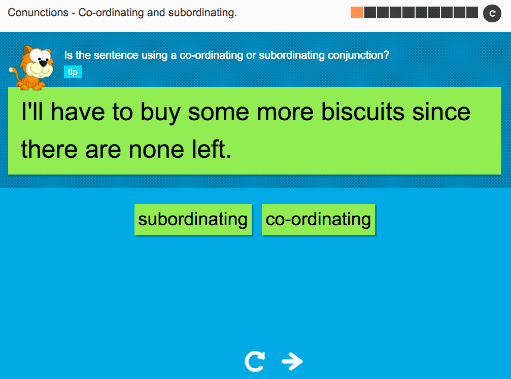 Coordinating and subordinating conjunctions - Interactive Activity - KS3 Spag