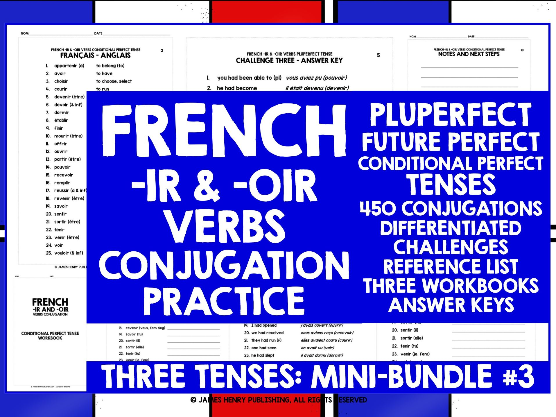 FRENCH -IR VERBS CONJUGATION MINI-BUNDLE 3