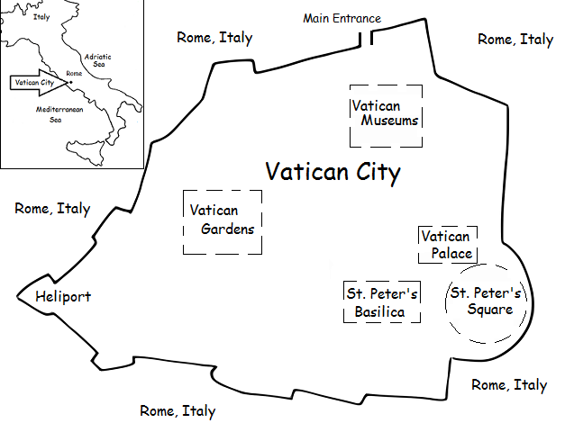Simple Map Of Italy.Vatican City Printable Handout With Simple Map