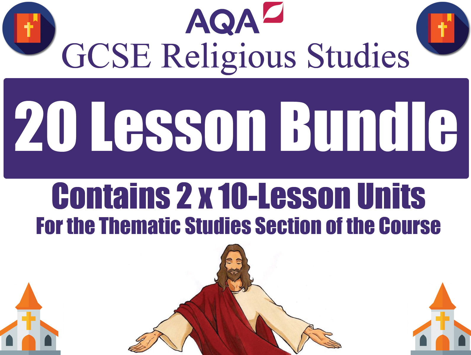 'Religion & Life' + 'Religion, Human Rights & Social Justice' (20 Lessons) [GCSE RS - AQA]