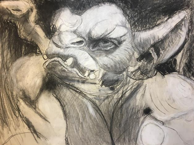Gargoyles Charcoal and chalk