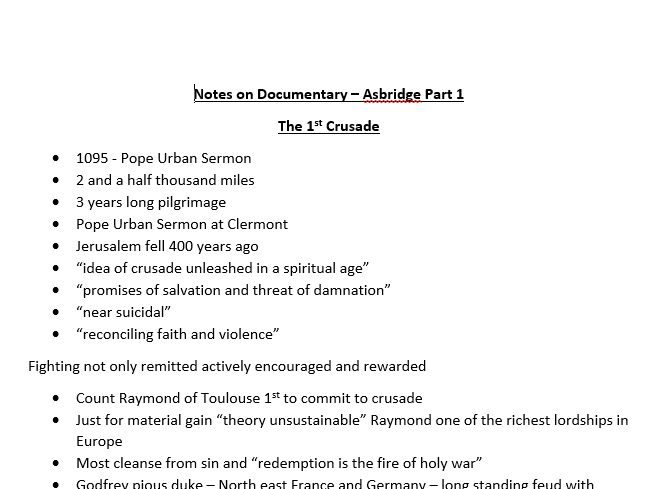 Notes on Documentary Asbridge Part 1