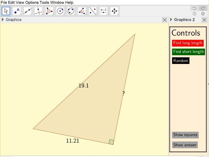 Interactive pythagoras question generator and solver