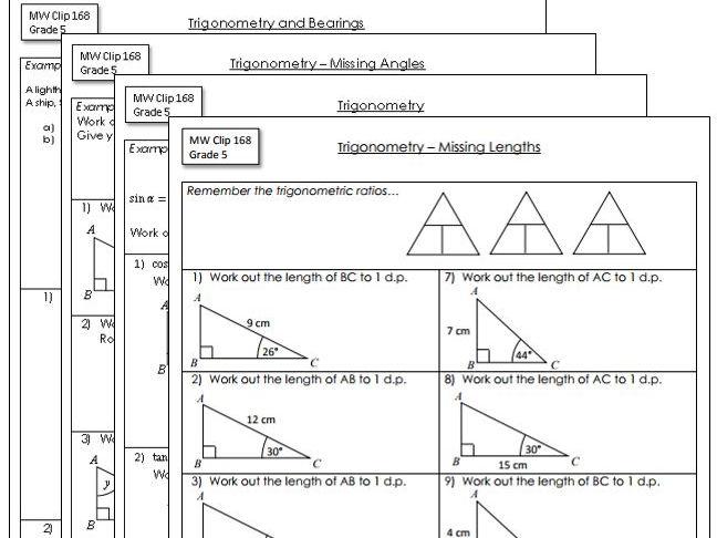 Secondary basic trigonometry resources – Basic Trigonometry Worksheets