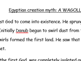 Egyptian creation myth WAGOLL key stage 2 years 4-6.