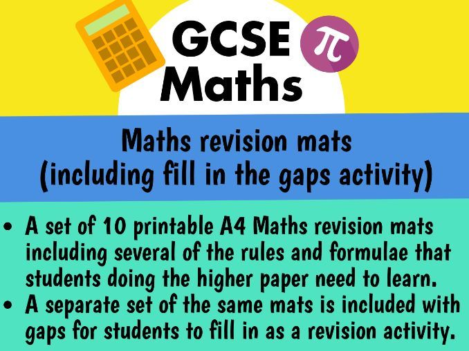 GCSE Maths Higher Revision Mats (including fill-in-the-gaps mats) 2019