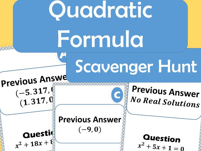 15 Poster - Quadratic Formula Scavenger Hunt