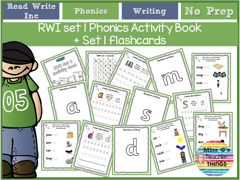 Year 1 / Reception - RWI set 1 phonics activity book + set 1 flashcards