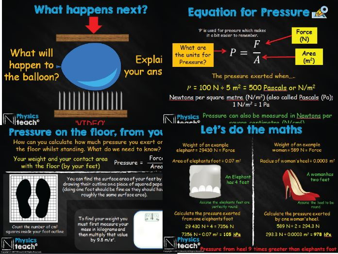GCSE AQA Physics P11.1 - Pressure and Surfaces