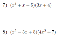 Multiplying polynomials worksheet (with solutions)