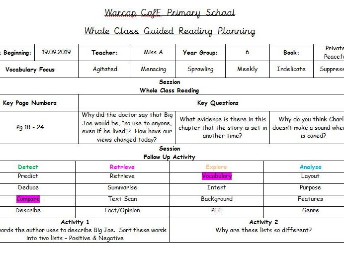 Whole Class Guided Reading Template