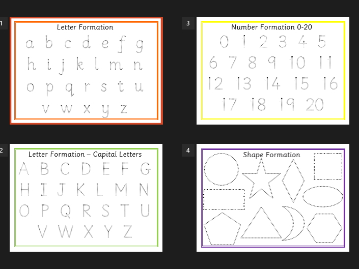 Handwriting practice - formation mats - alphabet, letters,  shape, numbers.