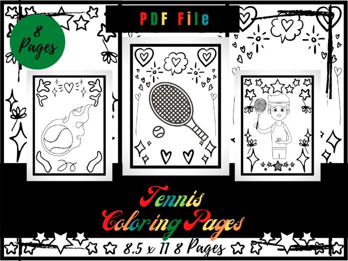 Tennis Coloring Pages For kids, Tennis Coloring Sheets PDF, Sport Printable Page