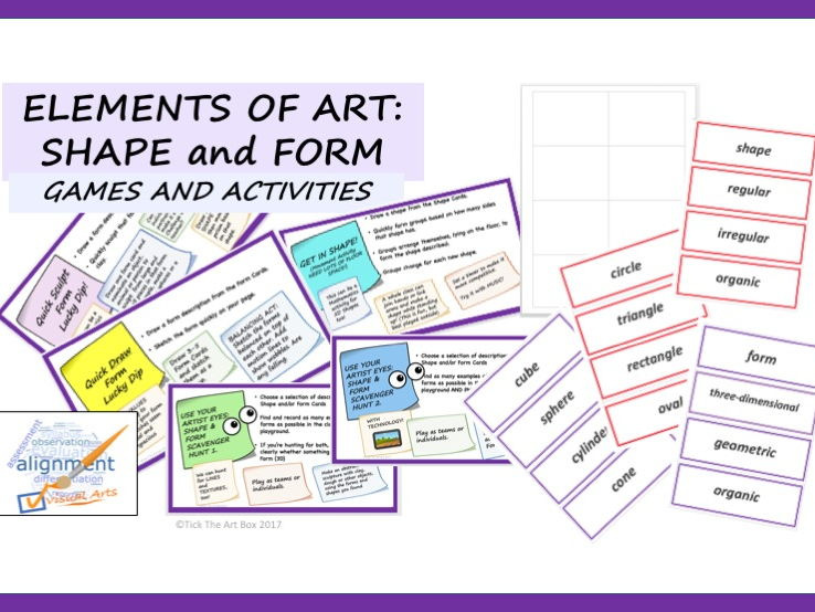 Elements of Art Vocabulary Word Wall Cards: FORM & SHAPE (with activities)