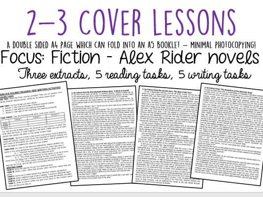 Cover Lessons: 3 Alex Rider Extracts + Reading/Writing Activities
