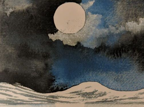 Watercolour - Japanese Moonlit Landscape
