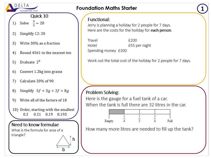 Starter for 10 - Foundation