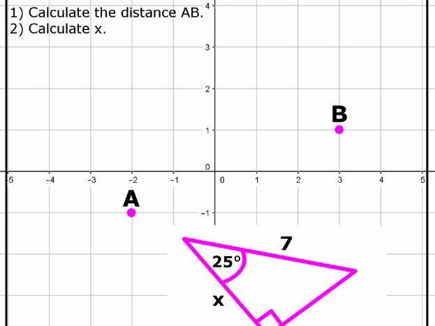Quick assessment - Pythagoras Coordinates & Trig (2 versions)