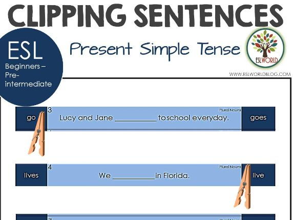 Sentence Clip Cards Present Simple Tense