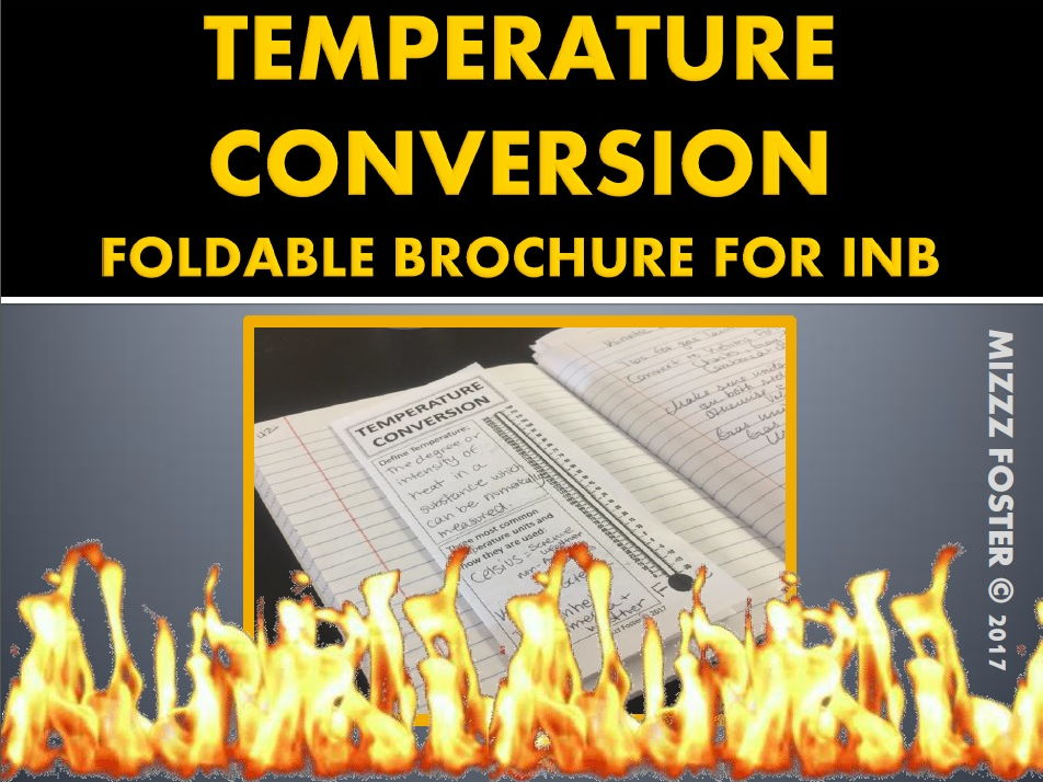 Temperature Conversion Foldable Brochure for Interactive Notebooks