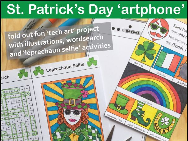 St. Patrick's Day 'artphone' art lesson with word search and leprechaun selfie