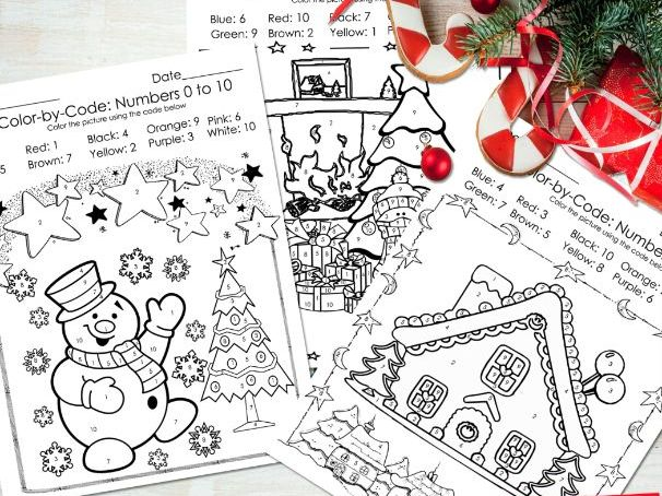 Christmas Color by Code - Christmas Coloring Pages - Numbers 1-10 Activities