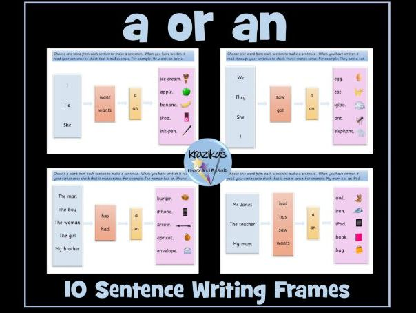 Indefinite Articles - 'a' or 'an' - Sentence Writing Frames