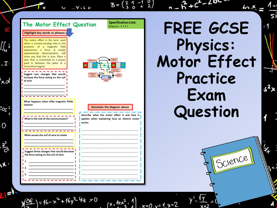 Free GCSE Physics (Science) Motor Effect Practice Exam Question
