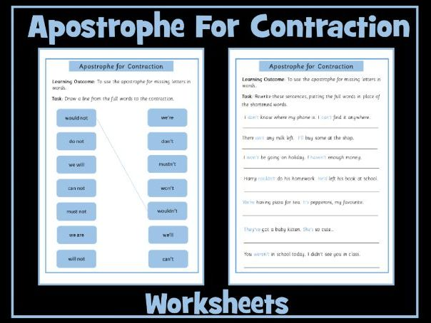 Apostrophe For Omission Contraction Worksheets Teaching Resources