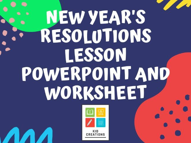 New Year's Resolutions Lesson PowerPoint and Worksheet