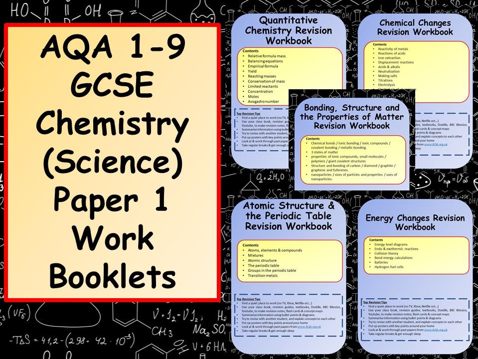 AQA 1-9 GCSE Chemistry (Science) Paper 1 Work Booklets Bundle