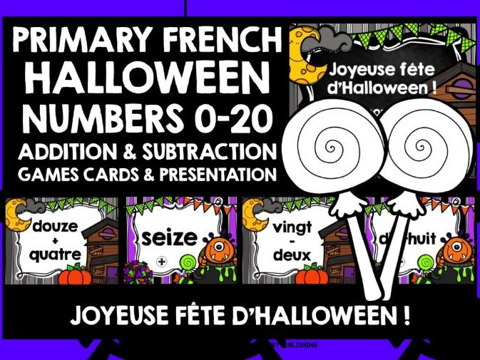 PRIMARY FRENCH HALLOWEEN NUMBERS 0-20 GAMES CARDS