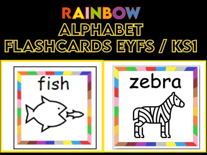 Alphabet Black and White Cards with Rainbow Border