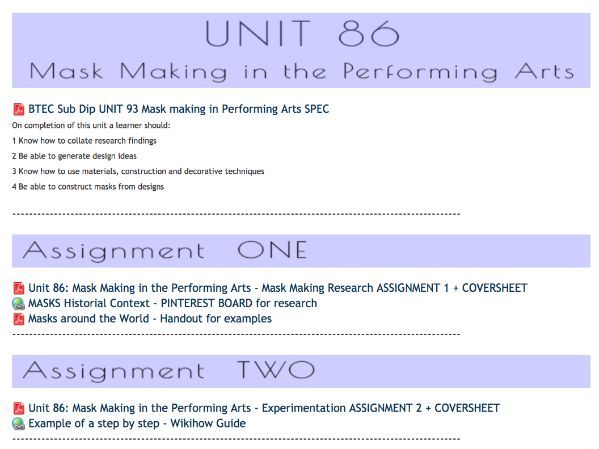 Banners UNIT Assignment Briefs - VLE BTEC L3 Production Arts Makeup Units 86, 94 & 96 sub dip MU